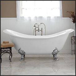 "CAST IRON ""DOUBLE SLIPPER"" BATH 1829mm - WHITE (with overflow hole)"
