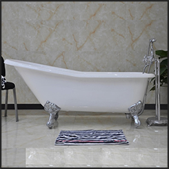 "CAST IRON ""SLIPPER\"" BATH 1676mm - WHITE (with Overflow Hole)"